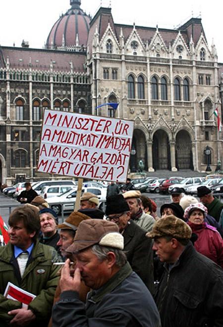 Tüntető gazdák a Parlamentnél