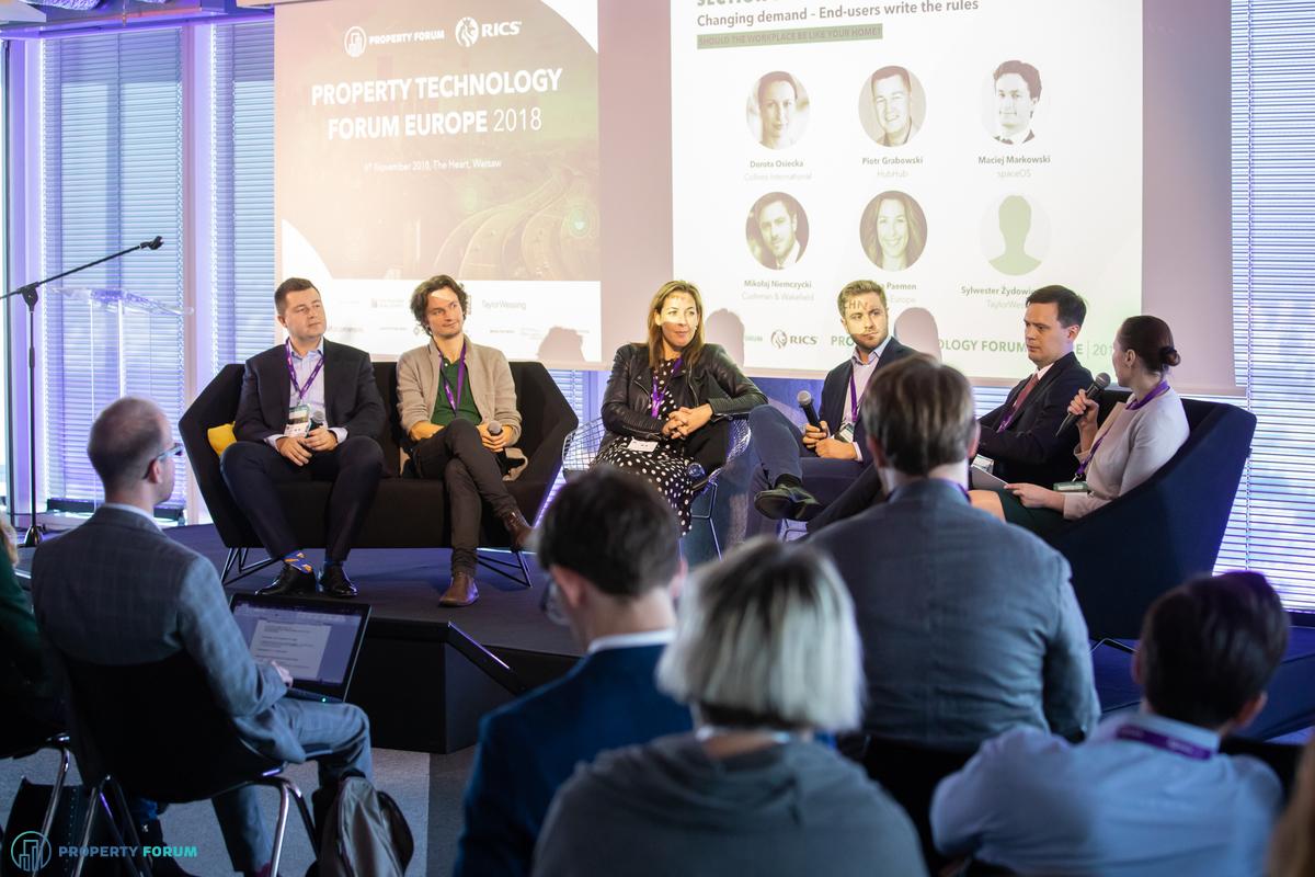 Workplace panel: Piotr Grabowski (HubHub), Maciej Markowski (spaceOS), Lara Paemen (IFMA Europe), Mikołaj Niemczycki (Cushman & Wakefield), Sylwester Żydowicz (TaylorWessing), Dorota Osiecka (Colliers International)