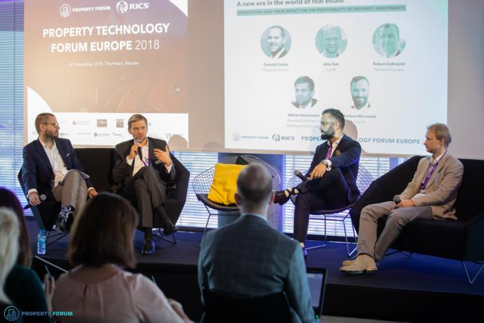 Panel discussion about property investments: Csanad Csuros (Property Forum), Adrian Karczewicz (Skanska), Bartosz Mierzwiak (Logicor), Alex Bak (Lightfi)