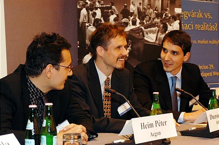 Portfolio.hu Forint Conference: Péter Heim (Aegon), Péter Duronelly (Budapest Alapkezelő), György Barcza (ING)