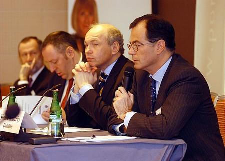 Portfolio.hu Forint Konferencia: Simor András (Deloitte), Draskovics Tibor (pénzügyminiszter), Hamecz István (MNB), Bogsch Erik (Richter)