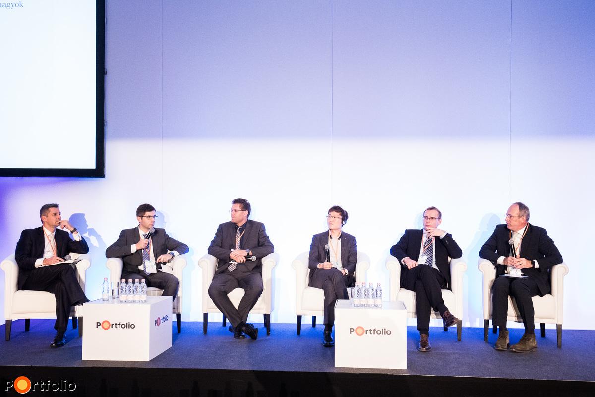 A digitális egészségügy jövője. A beszélgetés részvevői: Szenczi Gábor (Kutatás és Fejlesztési igazgató, Sanatmetal), Megyesi Béla (HC IT Product Specialist, Siemens Healthcare), Dongmin Lee (LG Electronics Inc., Product Director, Europe Hospitality Biz), Hoffmann Zoltán (innovációs igazgató, Tigra Kft.) és a moderátor Dr. Szócska Miklós (igazgató, Semmelweis Egyetem Egészségügyi Menedzserképző Központ)